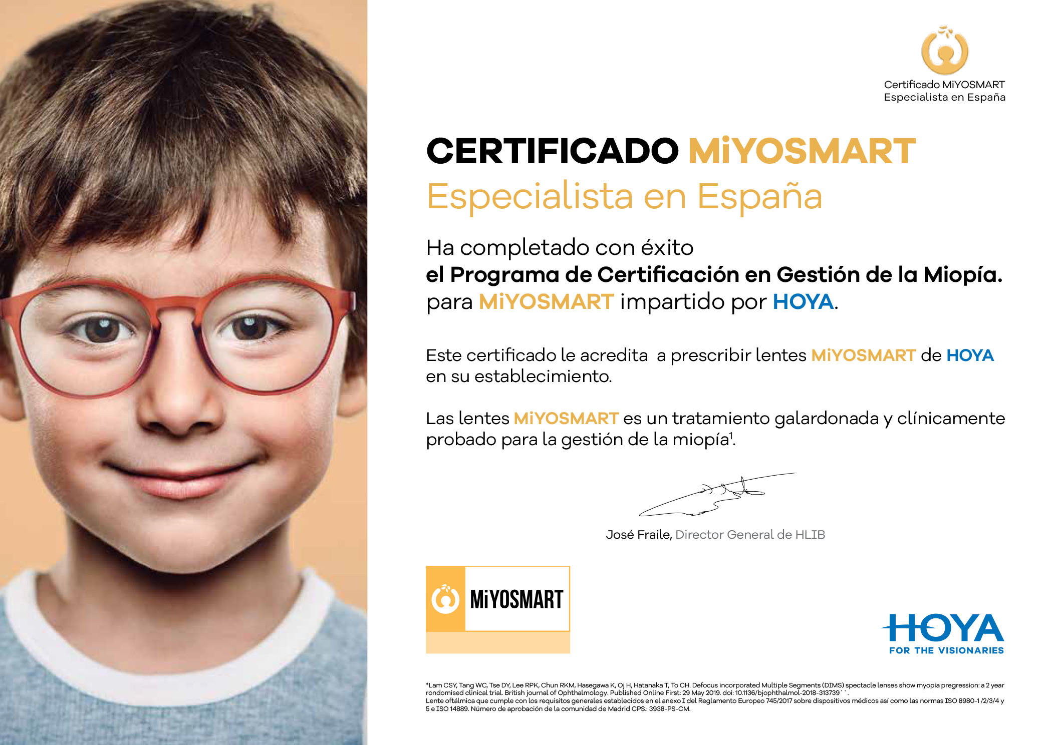 Certificado MIYOSMART HOYA